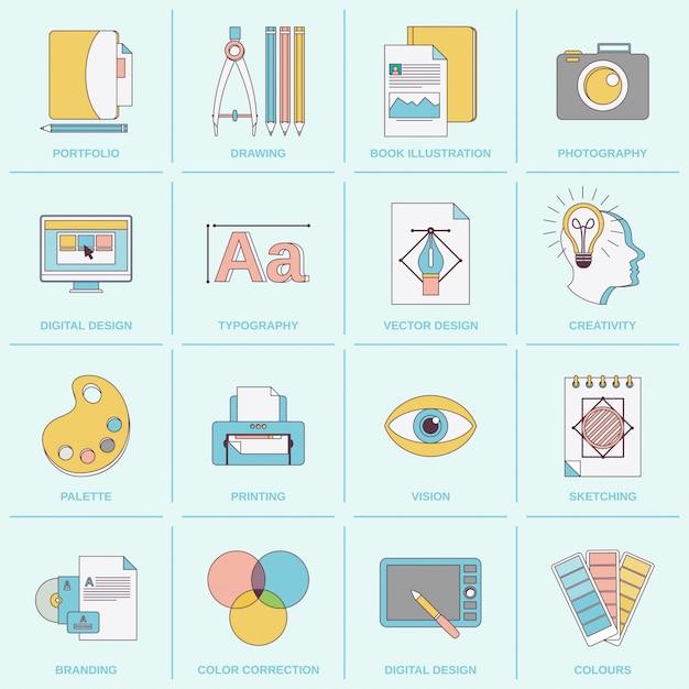 Flache linie der grafikdesignikonen Premium Vektoren