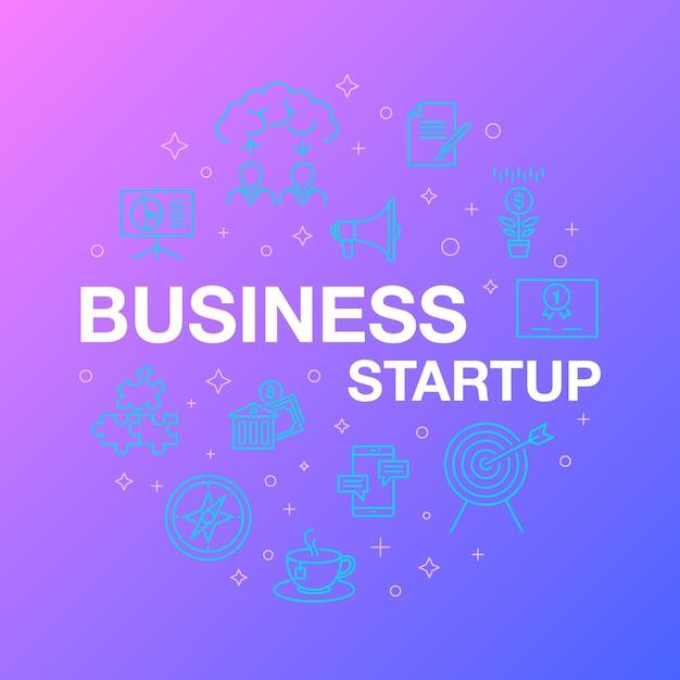 Flache linie design von business-startup-ikonen. Premium Vektoren