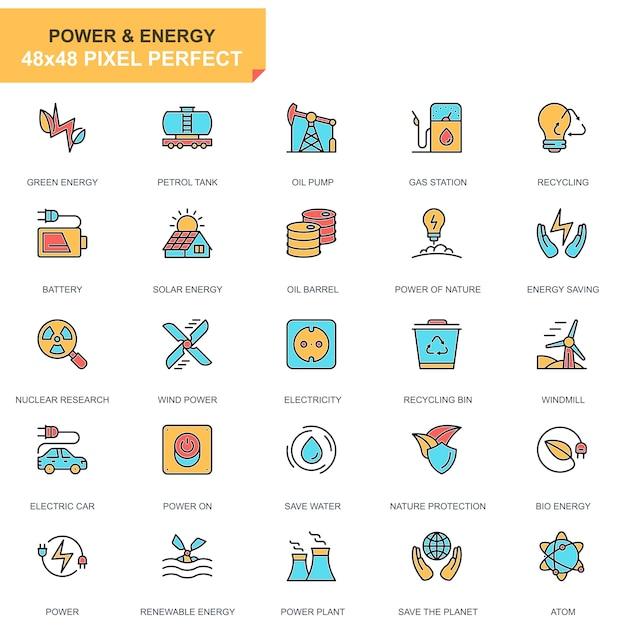 Flache linie energie industrie und energie icons set Premium Vektoren