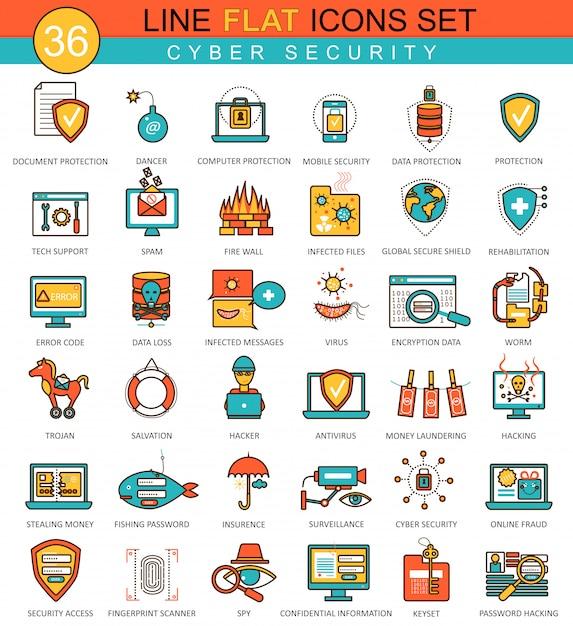 Flache linie ikonen der internetsicherheit eingestellt Premium Vektoren