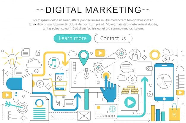 Flache linie konzept des digitalen marketings Premium Vektoren