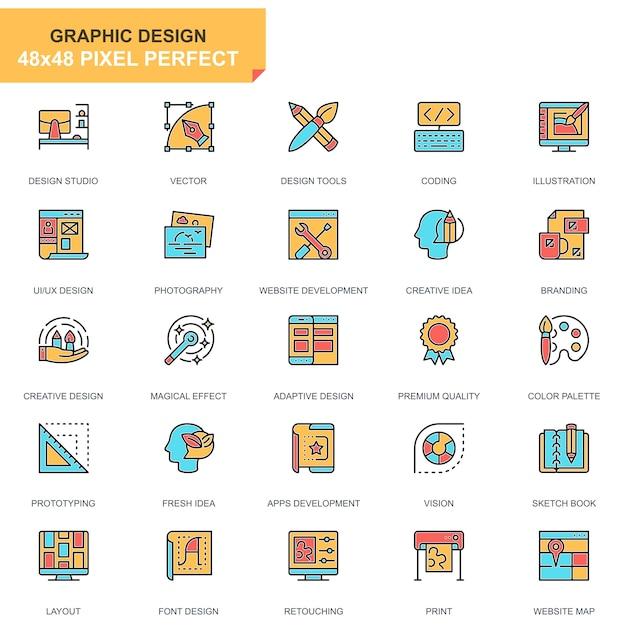 Flache linie web- und grafikdesignikonen eingestellt Premium Vektoren