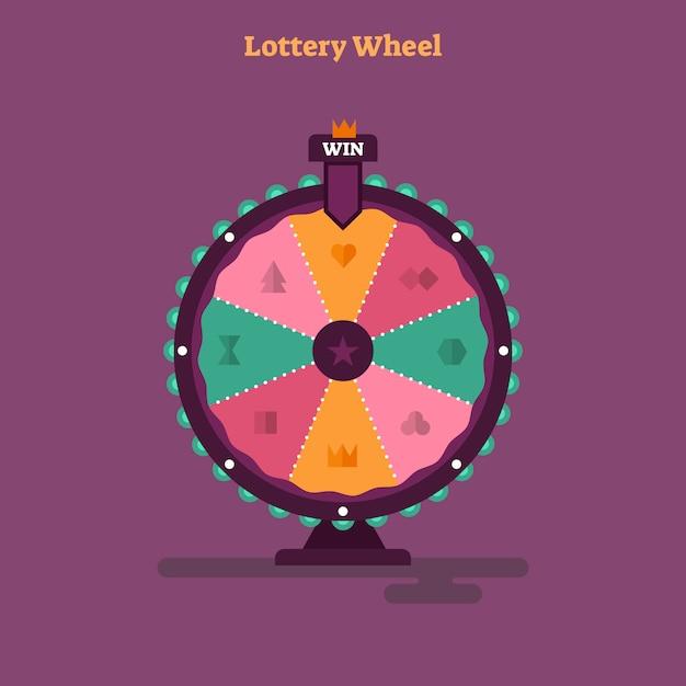 Flache lotterie rad-vektor-illustration Premium Vektoren