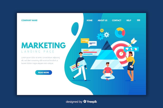 Flache marketing-landingpage-vorlage Kostenlosen Vektoren