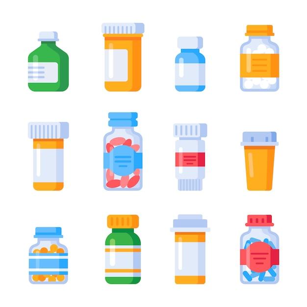 Flache medizinflaschen Premium Vektoren