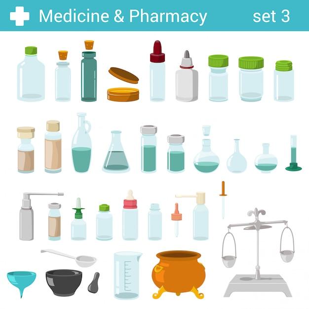 Flache medizinische pharmazeutische flaschen glasbehälter skaliert illustrationssatz. Premium Vektoren