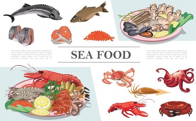 Flache meeresfrüchte bunte zusammensetzung mit hummerkrebsen tintenfisch tintenfisch fisch kaviar muscheln austern jakobsmuscheln stör zander forellenfleisch Kostenlosen Vektoren