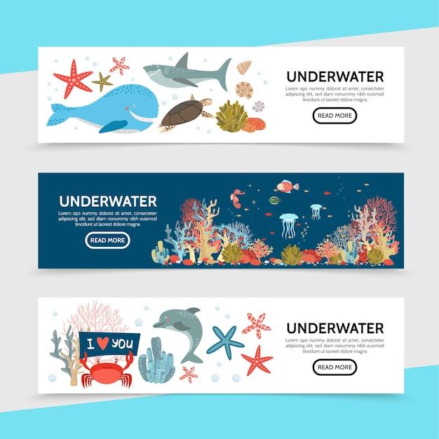 Flache meeresleben horizontale banner mit walhai schildkrötenfisch seepferdchen quallen seestern krabben delphin seetang korallen illustration Kostenlosen Vektoren