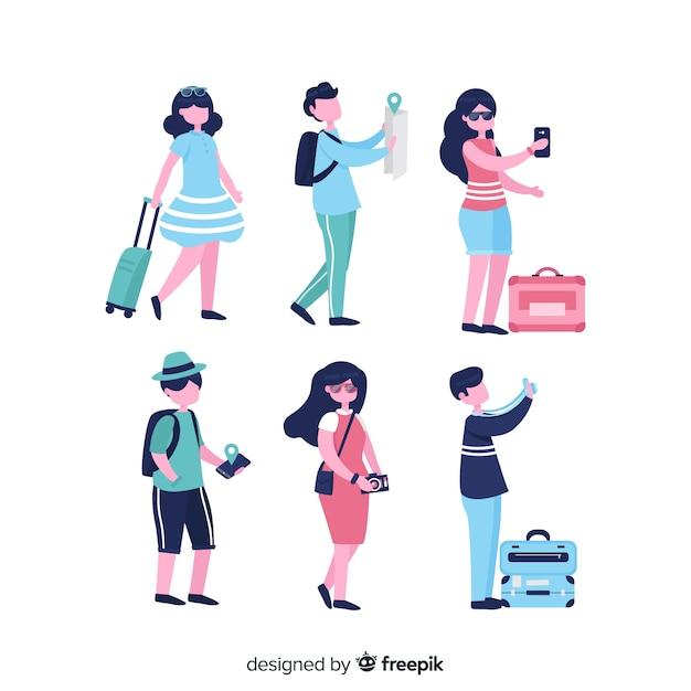 Flache menschen, die in verschiedenen situationen reisen Kostenlosen Vektoren