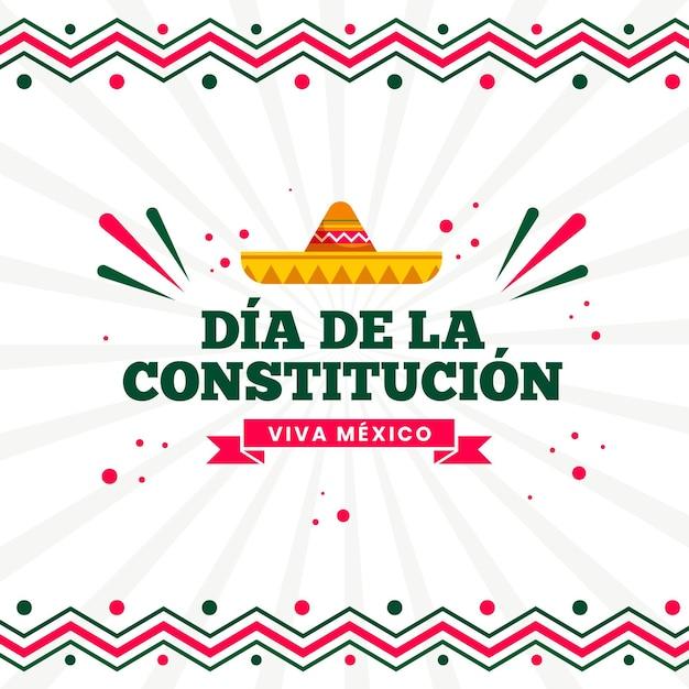 Flache mexikanische verfassungstagillustration Kostenlosen Vektoren