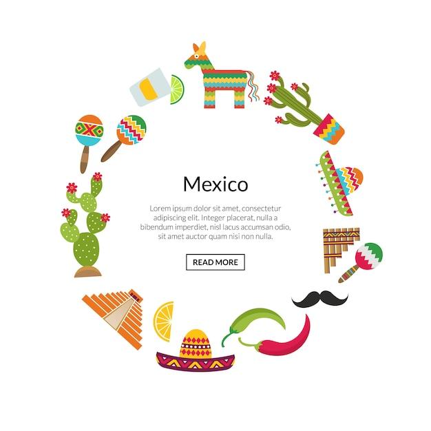 Flache mexiko-attribute in kreisform Premium Vektoren