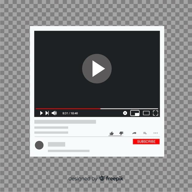 Flache multimedia-player-vorlage für social media Kostenlosen Vektoren