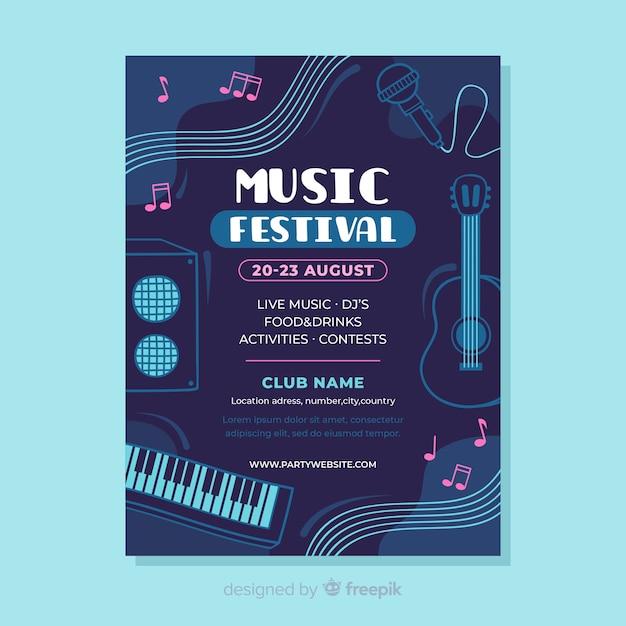 Flache musik festival poster vorlage Kostenlosen Vektoren