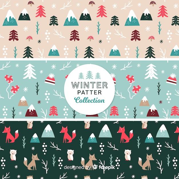 Flache muster-winterkollektion Kostenlosen Vektoren