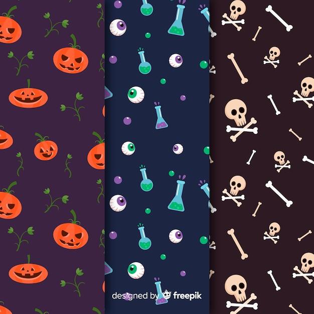 Flache mustersammlung halloween-elemente Kostenlosen Vektoren