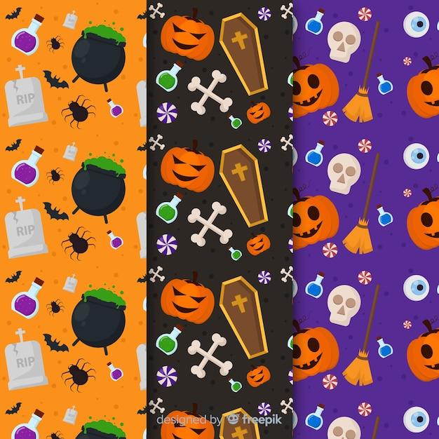 Flache mustersammlung mit halloween-zubehör mit obskuren elementen Kostenlosen Vektoren