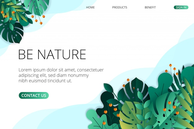Flache natur landing page vorlage Premium Vektoren