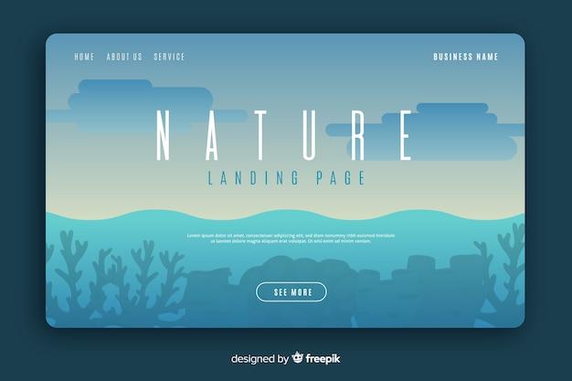 Flache natur landing page vorlage Kostenlosen Vektoren
