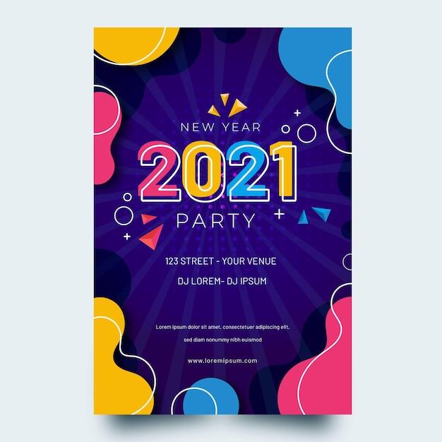 Flache neujahr 2021 party flyer vorlage Kostenlosen Vektoren