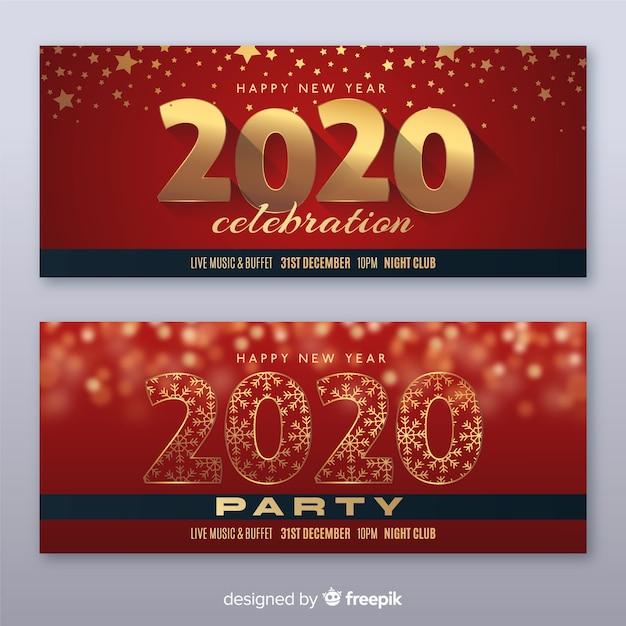 Flache neujahrsparty banner Kostenlosen Vektoren