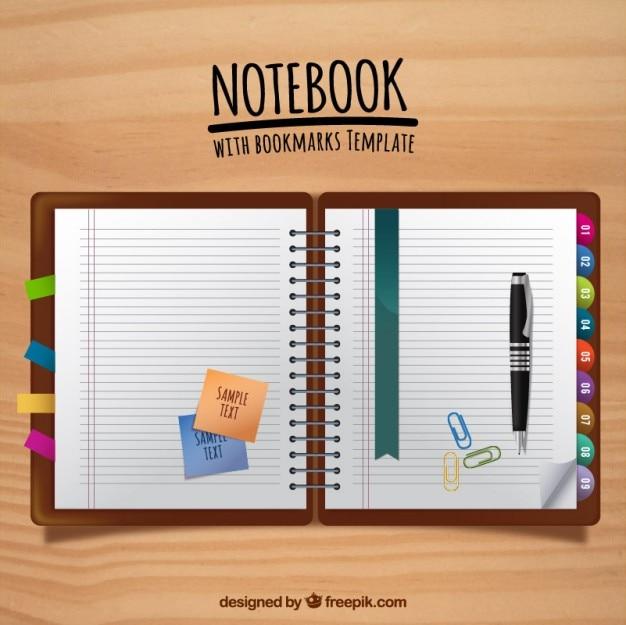 flache notebook mit lesezeichen und stift mit post its download der kostenlosen vektor. Black Bedroom Furniture Sets. Home Design Ideas