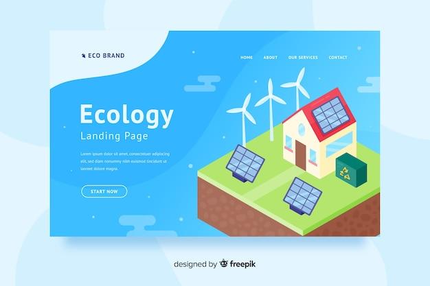 Flache ökologie-landingpage-vorlage Premium Vektoren