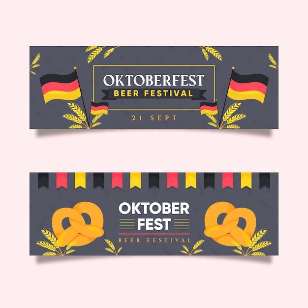 Flache oktoberfest banner Kostenlosen Vektoren