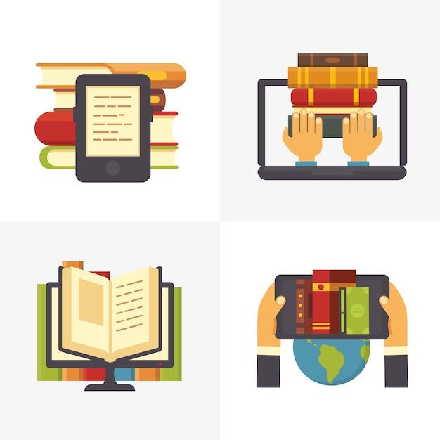 Flache online-bibliothek. schulbibliotheksbuchzugang am laptop. lehrbücher für naturwissenschaftliche bildung und digitaler buchladen Premium Vektoren