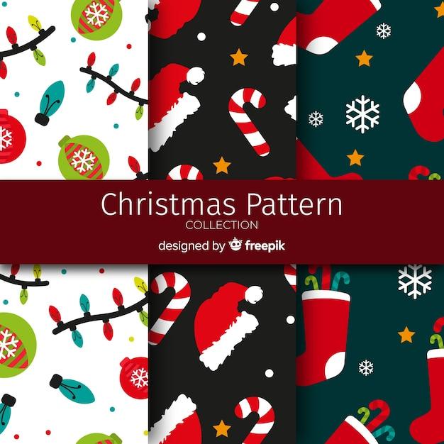Flache ornamente weihnachten muster kollektion Kostenlosen Vektoren