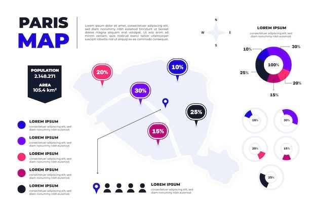 Flache paris karte infografiken Kostenlosen Vektoren