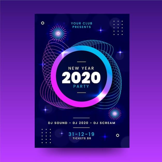 Flache party-fliegerschablone des neuen jahres 2020 Kostenlosen Vektoren