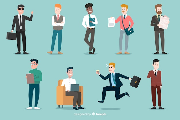 Flache people-szenen im büro Kostenlosen Vektoren