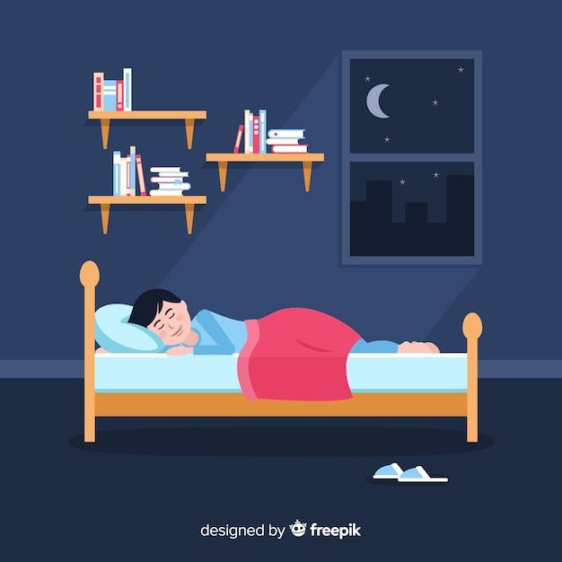 Flache person, die im bett schläft Premium Vektoren