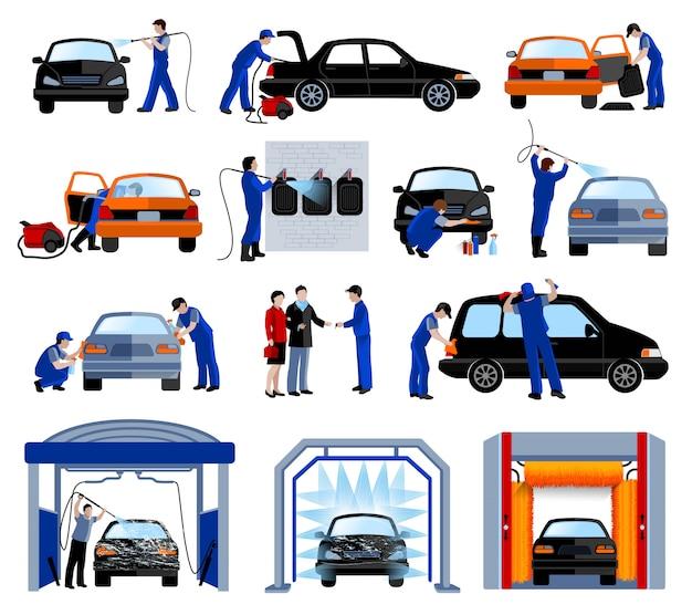 Flache piktogramme der automatischen autowäsche-tankstelle eingestellt Kostenlosen Vektoren