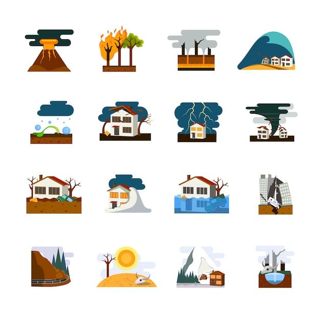 Flache piktogrammsammlung der welt schlimmsten naturkatastrophensymbole mit erdbebenssunami und lawinengefahr lokalisierte vektorillustration Premium Vektoren