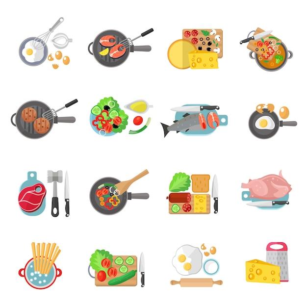 Flache piktogrammsammlung des gesunden lebensmittels der hausmannskost von fleischsalaten und von fischgerichten Kostenlosen Vektoren