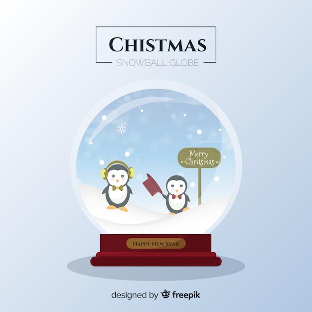 Flache pinguine weihnachtsschneeball Kostenlosen Vektoren