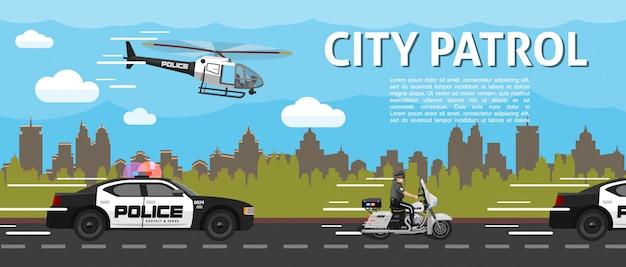 Flache polizeistadtpatrouillenschablone mit hubschrauberautos und polizisten, die motorrad auf straße fahren Kostenlosen Vektoren