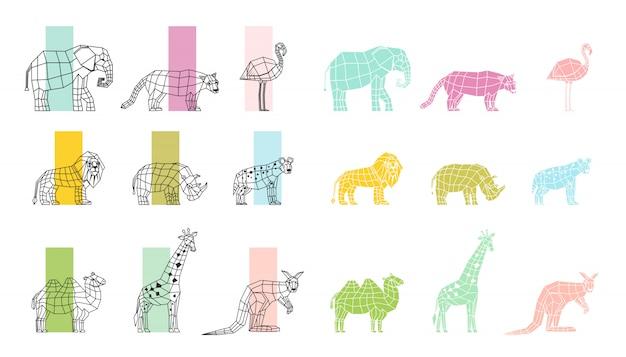 Flache polygonale ikonen der wilden tiere eingestellt Premium Vektoren