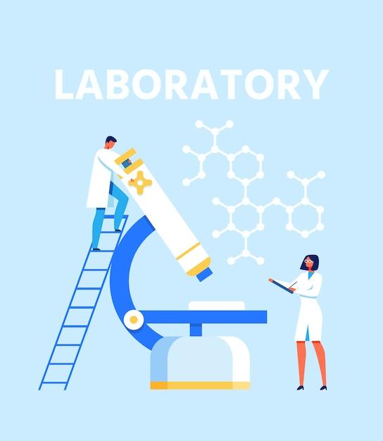 Flache präsentation für ein modernes wissenschaftliches labor Premium Vektoren