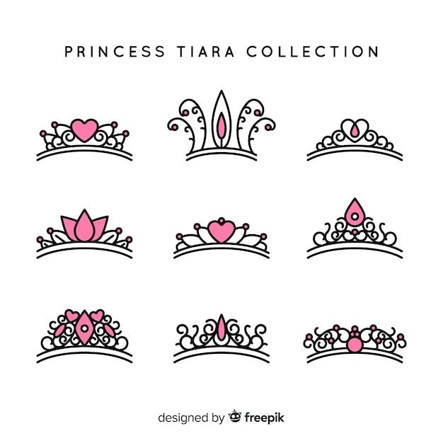 Flache prinzessin tiara-kollektion Kostenlosen Vektoren