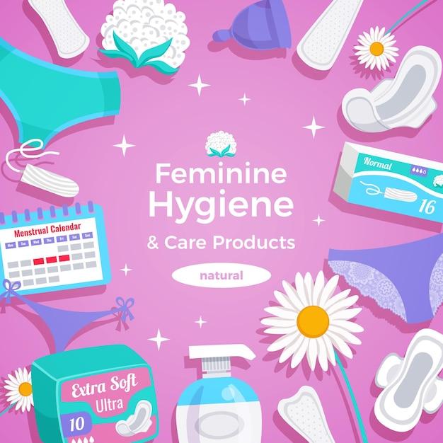 Flache quadratische rahmenzusammensetzung der naturprodukte der weiblichen hygiene mit auflagenhöschenzwischenlagen tampons menstruationsschale Kostenlosen Vektoren