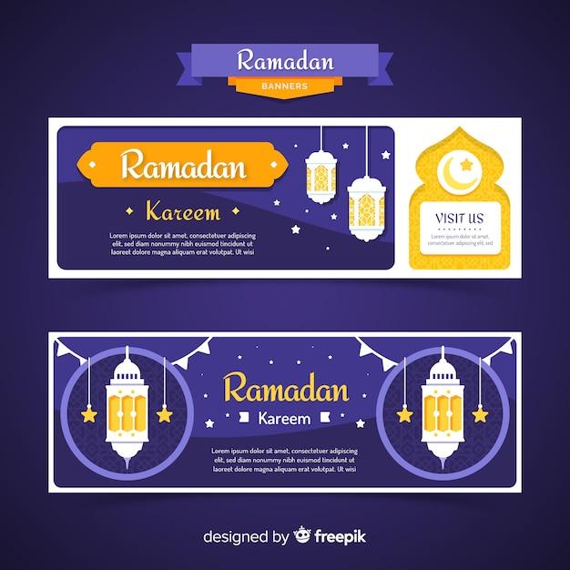Flache ramadan banner vorlage Kostenlosen Vektoren