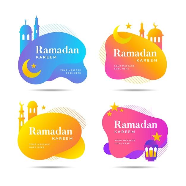 Flache ramadan-etikettensammlung Kostenlosen Vektoren
