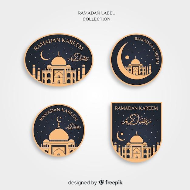Flache ramadan-labelsammlung Kostenlosen Vektoren