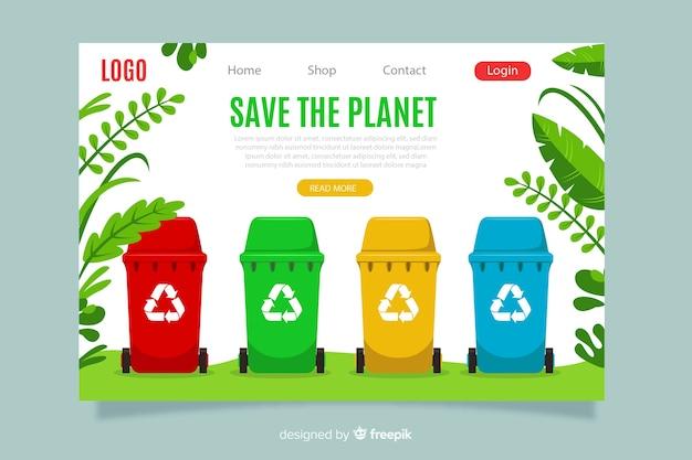 Flache recycling-landingpage-vorlage Kostenlosen Vektoren
