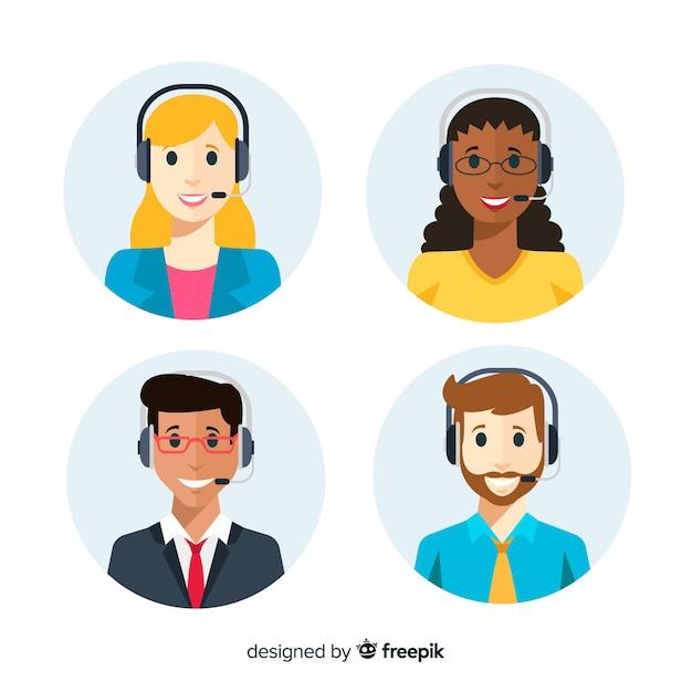 Flache reihe von call-center-avataren Kostenlosen Vektoren