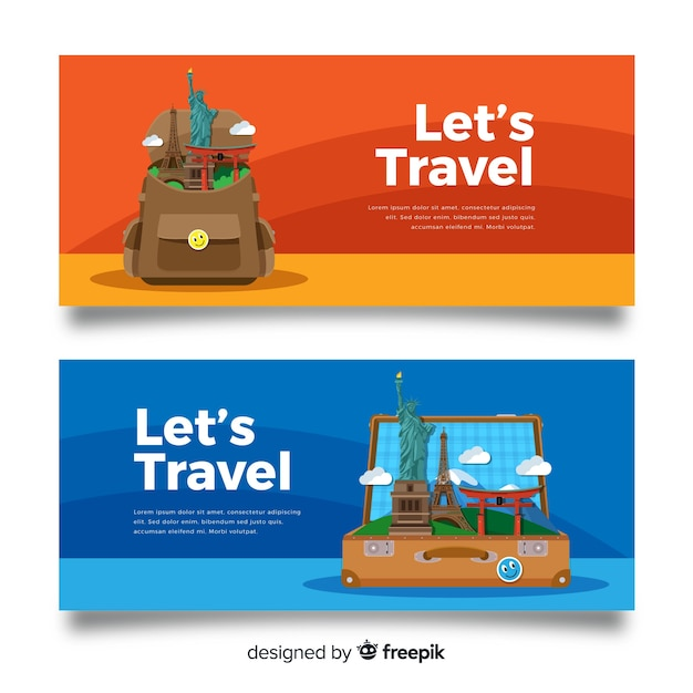 Flache reise-banner Kostenlosen Vektoren