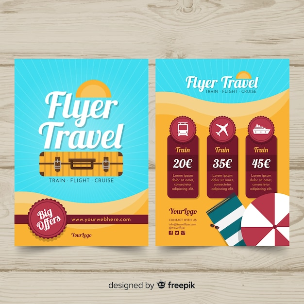 Flache reise-flyer-vorlage Kostenlosen Vektoren