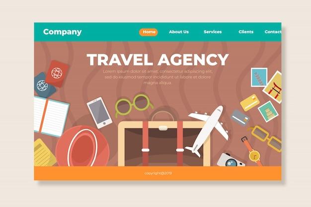 Flache reise-landingpage-vorlage Kostenlosen Vektoren